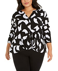 Plus Size Printed Button-Up Twist-Front Top, Created for Macy's