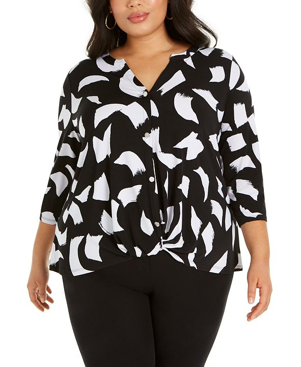 Alfani Plus Size Printed Button-Up Twist-Front Top, Created for Macy's