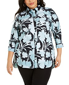 Plus Size Printed Knit Boyfriend Shirt, Created for Macy's