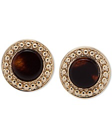 Gold-Tone Tortoise-Look Stud Earrings