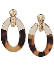 Gold-Tone & Tortoise-Look Doorknocker Clip-On Drop Hoop Earrings