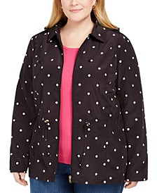 Plus Size Dot-Print Hooded Anorak Jacket, Created for Macy's