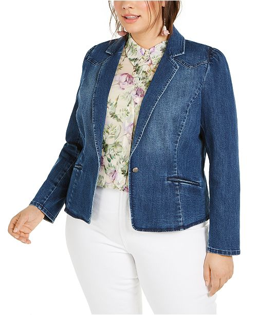 INC International Concepts INC Plus Size Puff-Sleeve Denim Blazer, Created for Macy's