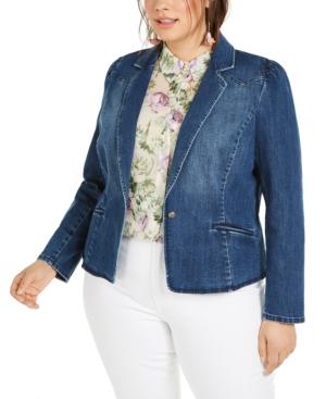 Plus Size Puff-Sleeve Denim Blazer