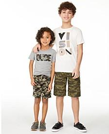 Little Boys 2-Pc. Camo Dude T-Shirt & Shorts Set and Big Boys Vision T-shirt & Camo Canvas Cargo Shorts, Created for Macy's