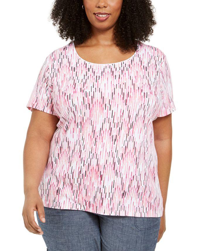 Karen Scott - Plus Size Ikat-Print T-Shirt