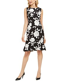 Floral-Print Sleeveless Crepe Ruffle-Hem Dress