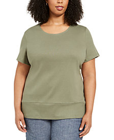 Karen Scott Plus Size Cotton Snap-Detail Shirt, Created for Macy's