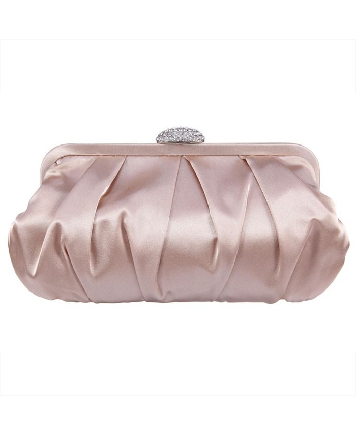 Nina - Concord Pleated Frame Clutch With Pave Clasp