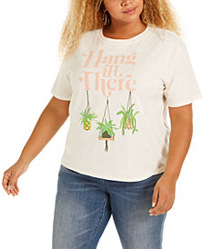 Mighty Fine Trendy Plus Size Hang In There Cropped Graphic T-Shirt