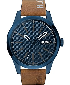 Men's #Invent Brown Leather Strap Watch 46mm
