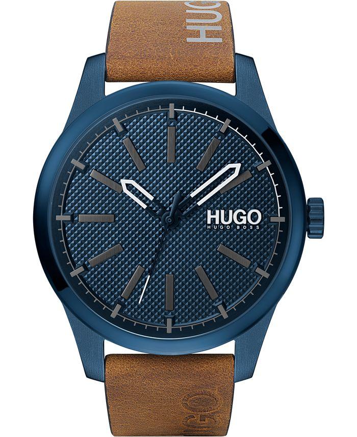 HUGO - Men's #Invent Brown Leather Strap Watch 46mm