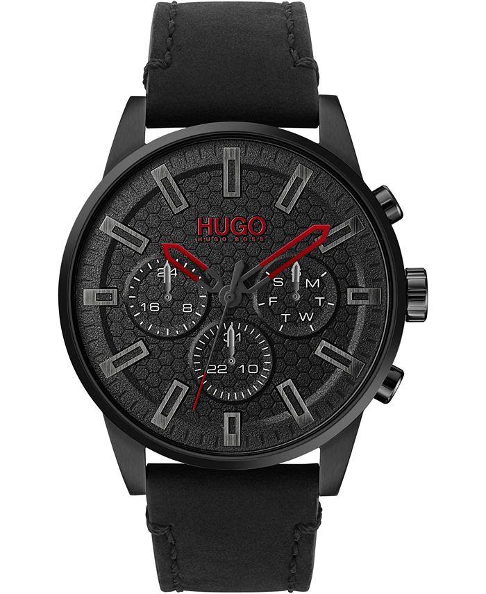 HUGO - Men's #Seek Chronograph Black Leather Strap Watch 44mm
