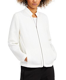 Textured Stand-Collar Zip Jacket