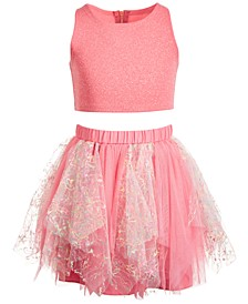 Little Girls 2-Pc. Shimmer Top & Tutu Skirt Set