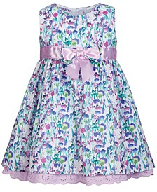 Bonnie Baby Baby Girls Eyelet-Trim Floral-Print Dress
