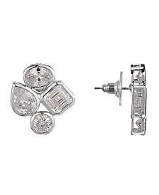 Cubic Zirconia Cluster Stud Earring