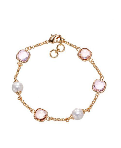Nina Bezel Station & Pearl Bracelet