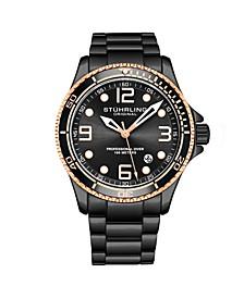 Men's Black Stainless Steel Bracelet Watch 43mm