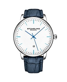 Men's Blue Leather Strap Watch 43mm