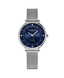 Women's Silver Tone Mesh Stainless Steel Bracelet Watch 34mm
