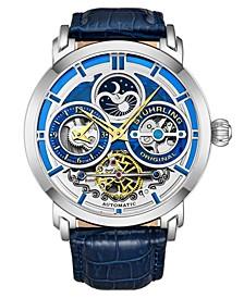 Men's Blue Leather Strap Watch 54mm