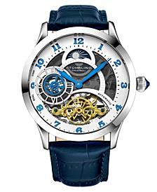 Men's Blue Leather Strap Watch 44mm
