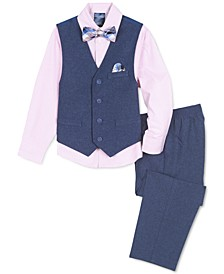 Little Boys 4-Pc. Heather Poplin Vest Set