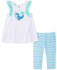 Little Girls 2-Pc. Narwhal Tunic & Stripe Leggings Set