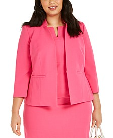 Plus Size Inverted Collar Blazer