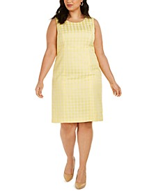 Plus Size Sleeveless Houndstooth-Print Dress