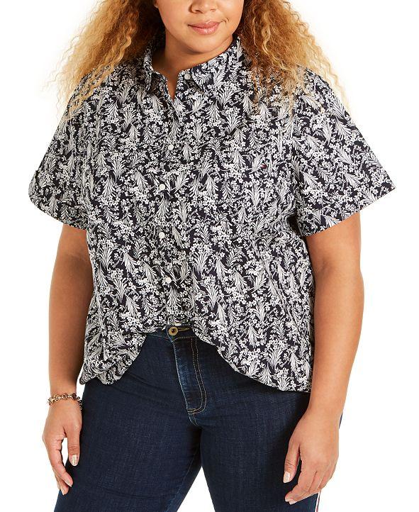 Tommy Hilfiger Plus Size Cotton Camp Shirt