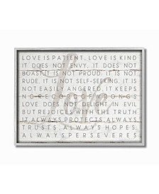 Love Is Patient Gray on White Planked Look Gray Framed Texturized Art Collection