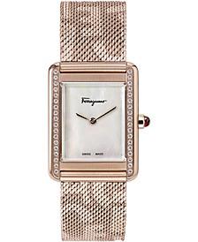 Women's Swiss Tank Lady Diamond (1/4 ct. t.w.) Logo Rose Gold Ion-Plated Stainless Steel Mesh Bracelet Watch 24x32mm
