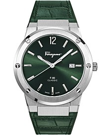 Men's Swiss F-80 Green Calf Leather Strap Watch 41mm