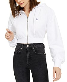 Cropped Zip-Front Hoodie