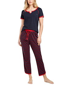 Henley Sleep T-Shirt & Cropped Pajama Pants