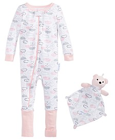 Baby Girls 2-Pc. Printed Pajama & Blankie Baby Set