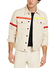 Men's Denim Jacket With Colored Taping