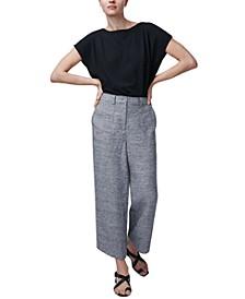 Linen Wide-Leg Cropped Pants