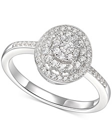 Diamond Halo Cluster Ring (1/3 ct. t.w.) in Sterling Silver