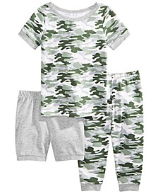 Baby & Toddler Boys 3-Pc. Printed Top, Shorts & Pants Pajama Set