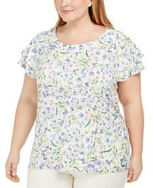 Plus Size Floral-Print Ruffle-Sleeve Top