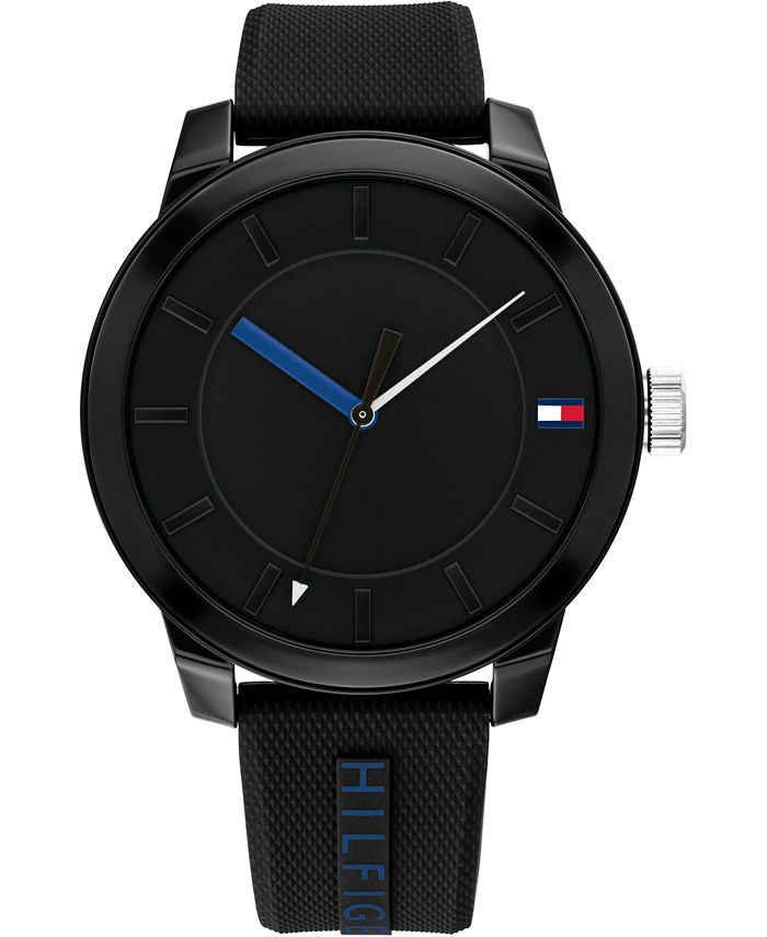 Tommy Hilfiger - Men's Black Silicone Strap Watch 44mm