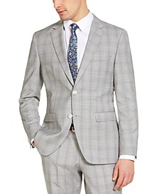 Men's Modern-Fit Light Gray Plaid Suit Jacket, Created for Macy's