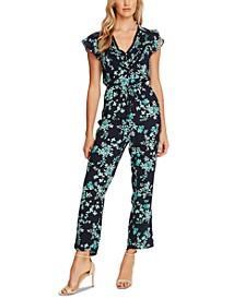 Floral Flutter-Sleeve Jumpsuit