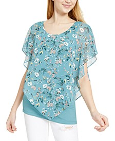 Juniors' Floral Popover Top