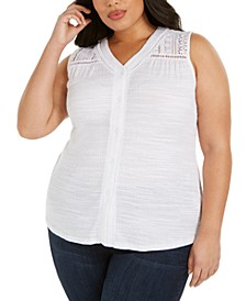 Plus Size Button-Up Lace V-Neck Top