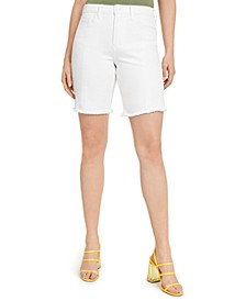 Frayed High-Rise Bermuda Shorts