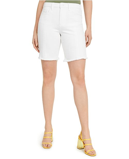 GUESS Relaxed White Denim Biker Shorts